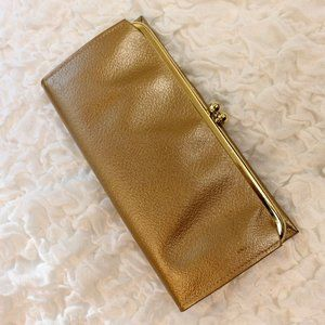 Vtg Miss Buxton Gold Cowhide Kiss Clasp Wallet